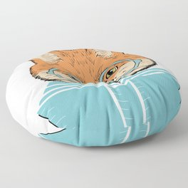 Reading Fox - White Background Floor Pillow
