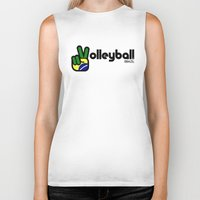 volleyball Biker Tanks featuring Volleyball Brazil by Skylar 83