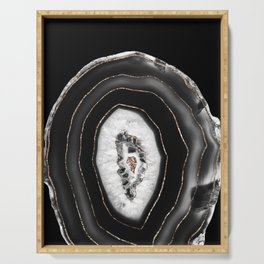 Gray Black White Agate with Gold Glitter #5 #gem #decor #art #society6  Serving Tray