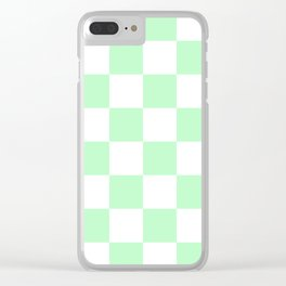 Large Checkered - White and Mint Green Clear iPhone Case