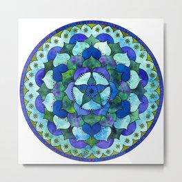 Star Mandala Ocean Metal Print