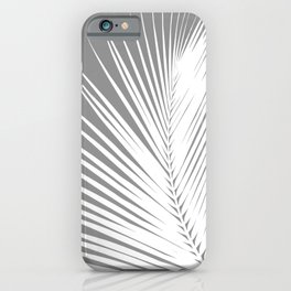 Large Palm Leaf, Grey / Gray and White iPhone Case