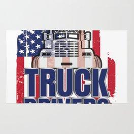 God Created Truck Drivers American Flag Rug