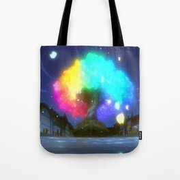 Magnificently Gorgeous Colorful Fantasy Tree Cartoon Scenery Ultra High Resolution Tote Bag