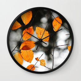 Orange Leafs (Color) Wall Clock