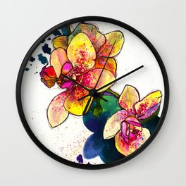 Inky Orchid Wall Clock