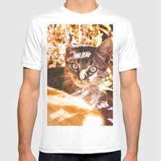 Cat in the shadows MEDIUM White Mens Fitted Tee