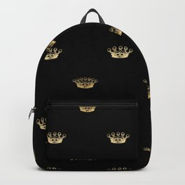 Black & Gold Crown Pattern Backpack