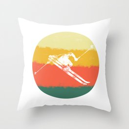 Retro Downhill Snow Skiing Ski Jump Vintage Style print Throw Pillow
