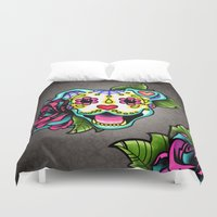 pit bull Duvet Covers featuring Smiling Pit Bull in White - Day of the Dead Happy Pitbull - Sugar Skull Dog by Pretty In Ink