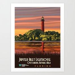Vintage Poster - Jupiter Inlet Lighthouse Outstanding Natural Area, Florida (2015) Art Print