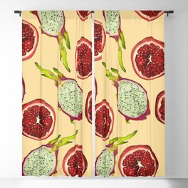 Pomegranate - Dragon Fruit Pattern yellow Blackout Curtain