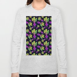 Feel the Beet in Skillet Black + Electric Purple Long Sleeve T-shirt