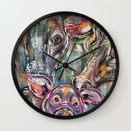 Crazy Kooky Farm Animals Wall Clock