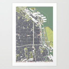 Buenos aires city map engraving Art Print