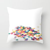 sprinkles Throw Pillows featuring Sprinkles by Dena Brender Photography