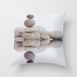 Stone Balance pebble cairn and water Throw Pillow