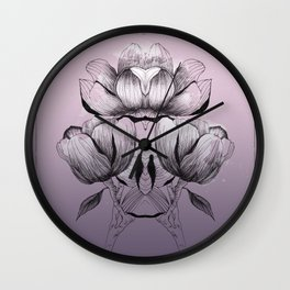 Purple bloom of Magnolia Wall Clock