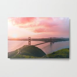 Sherbert Skies over the Golden Gate Bridge from Slackerhill Metal Print