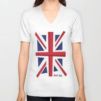 union jack V-neck T-shirts featuring Union Jack Flag by Tonio YUMUI