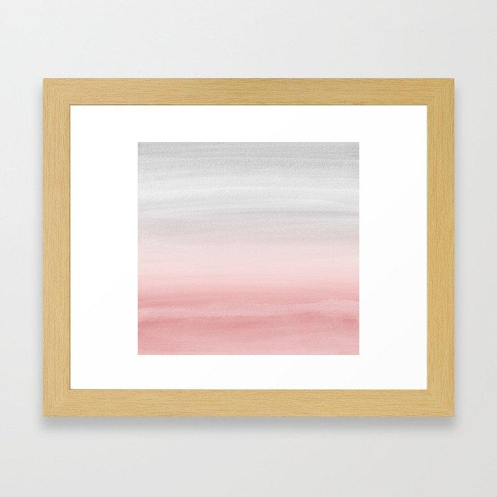 Touching Blush Gray Watercolor Abstract #1 #painting #decor #art #society6 Framed Art Print