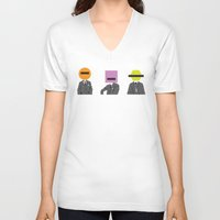 suits V-neck T-shirts featuring Three wise Monkey Suits by Simon Greening