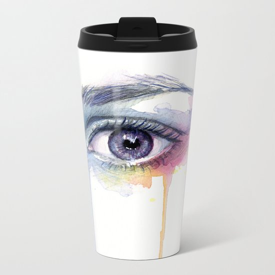 Colorful Eye Dripping Rainbow Metal Travel Mug