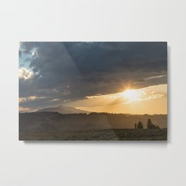 Yellowstone National Park - Sunset, Blacktail Deer Plateau Metal Print
