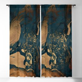 Emerald Indigo And Copper Glamour Marble Blackout Curtain