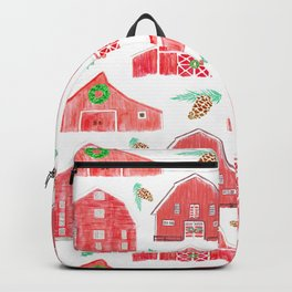 Watercolor Snowy Red Holiday Barns Backpack