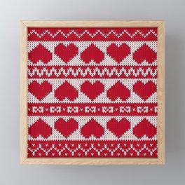 Fair Isle Valentines Day - Red Framed Mini Art Print