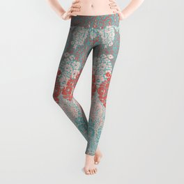 floral paisley in vermillion and teal Leggings