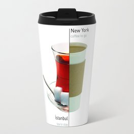 Cups - new york vs istanbul Travel Mug