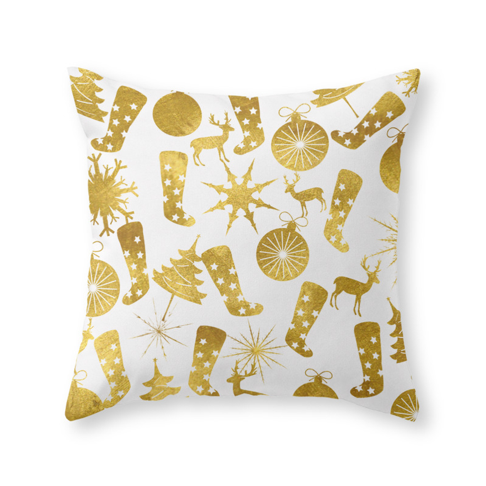 Gold Christmas Decorations Throw Pillow by nlmiller07art