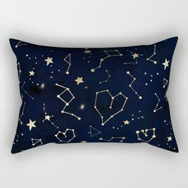 Modern gold constellation hearts stars space on navy blue watercolor Rectangular Pillow