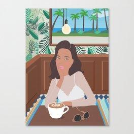 3 o'clock in the cafe, illustration, girly, hawaii, aloha, art Canvas Print