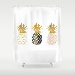 fun pineapple design gold Shower Curtain
