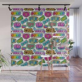 """Oh"", ""Bam"", ""Offline"", ""Oops"", ""Squad"", ""Yeah"" pattern. Wall Mural"