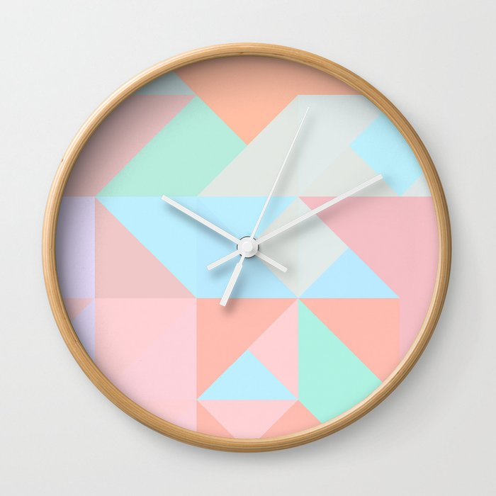 Pastel triangle Wall Clock