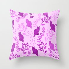 Watercolor Floral and Cat V Throw Pillow