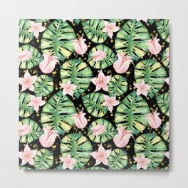 Tropical Jungle Print with Monstera, pink flowers and bokeh Metal Print