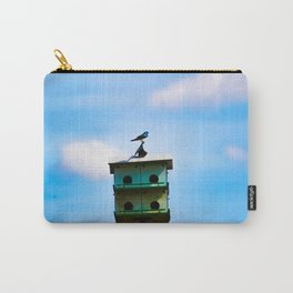 Blue Swallow on Birdhouse Carry-All Pouch