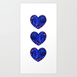 Three Space Hearts Art Print