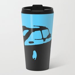 Saab 900 classic, Light Blue on Black Travel Mug
