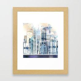 Blue City Scape Framed Art Print