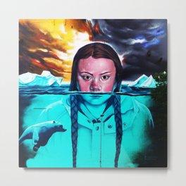Greta Thunberg Climate Change Mural Bristol, England Metal Print
