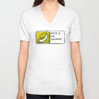 cyrilliart V-neck T-shirts featuring B for Bananas by Cyrilliart