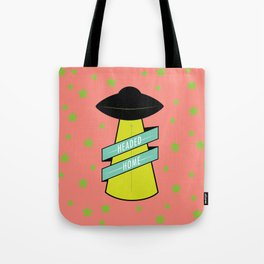 Headed Home UFO: Pink & Green Tote Bag