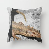 lizard Throw Pillows featuring Lizard by Anja Kidrič AdAk