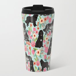 Newfoundland dog owner florals dog pattern print dog breed custom portrait by pet friendly Travel Mug
